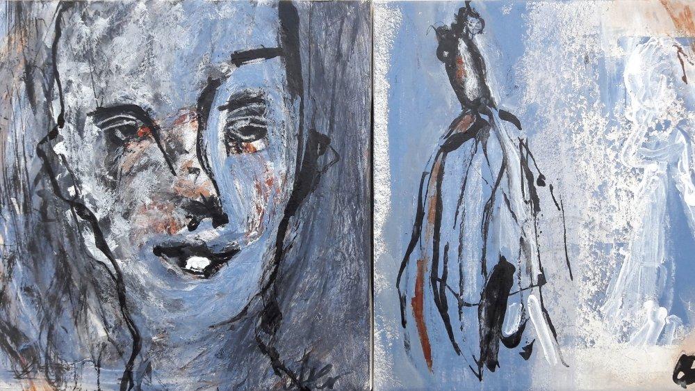 """Une peinture en techniques diverses de l'artiste Catherine Etter, de la série """"Derrière la fenêtre"""""""