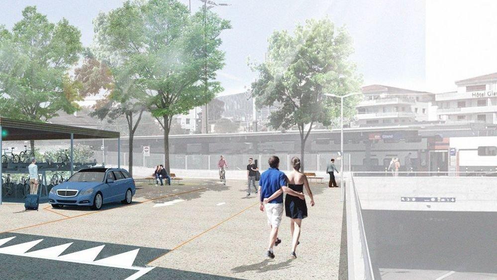 Une zone de rencontre arborisée et limitée à 20 km/h donnera accès au quai 3 de la gare de Gland.