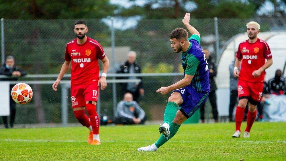 """Ridvan Hysenaj et les """"violet et vert"""" ont su relever la tête après leur revers contre Lancy (photo)."""