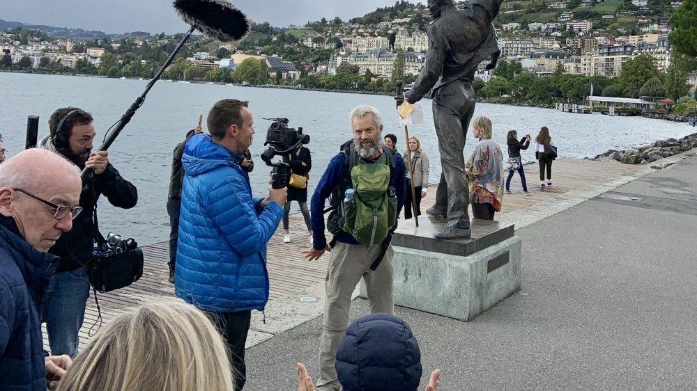 Yves Auberson a franchi la ligne d'arrivée samedi, à Montreux. Il aura parcouru au total 1122 kilomètres à pied pour un total de 85 jours de marche.