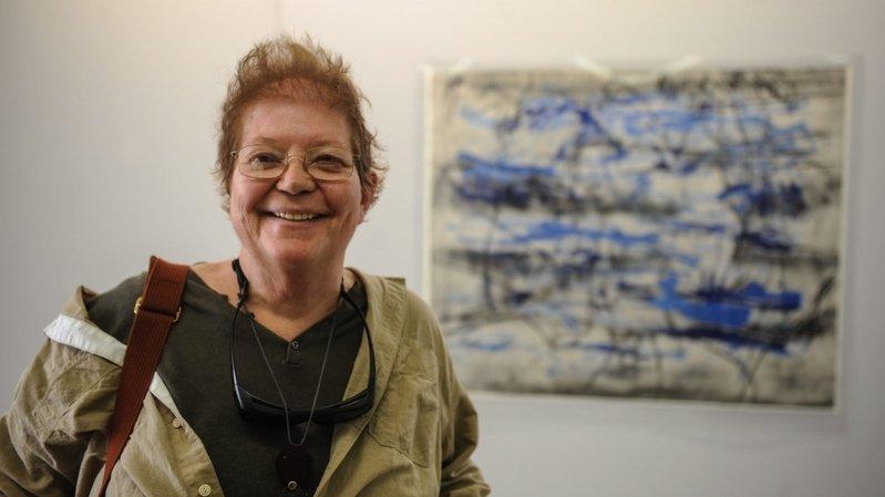 Francine Simonin lors d'une exposition à Colombier, dans le canton de Neuchâtel, en 2012.