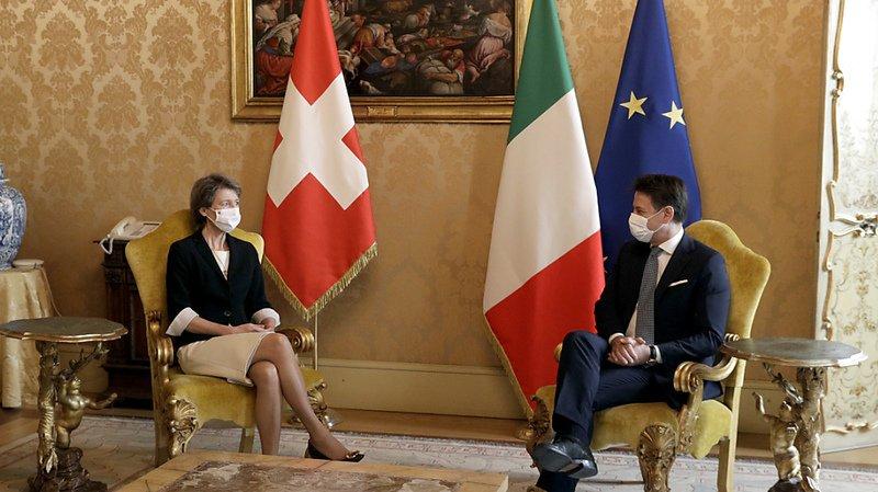 Simonetta Sommaruga a été reçue au Palais Chigi, à Rome.