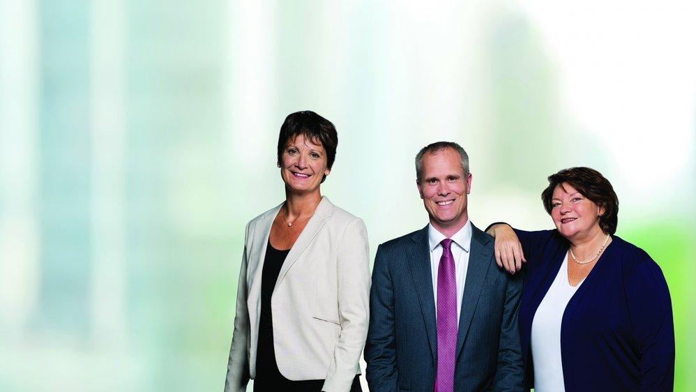 Les trois candidats du PLR: Christine Girod, Martin Ahlström et Jeannette Weber.
