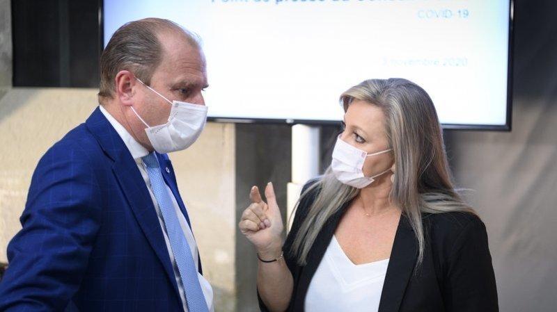 Le Conseil d'Etat vaudois (ici Philippe Leuba et Nuria Gorrite) font le point sur le dispositif mis en place pour lutter contre le coronavirus.