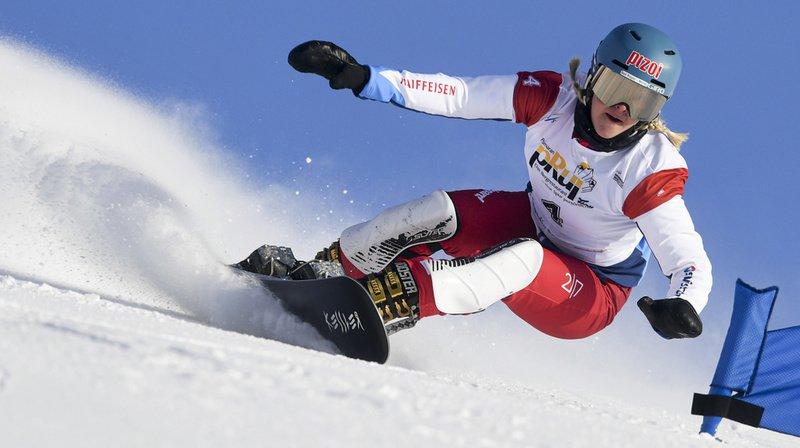 Julie Zogg, championne du monde de slalom parallèle, en action.