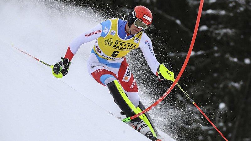 Ramon Zenhäusern 2e après la première manche du slalom de Madonna.