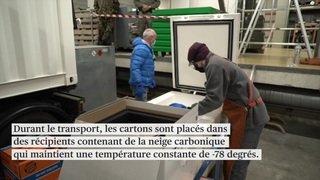 Cartons à pizza et neige carbonique: l'armée livre les vaccins