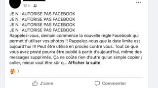 Facebook: non, partager les messages qui circulent ne protège pas vos données personnelles