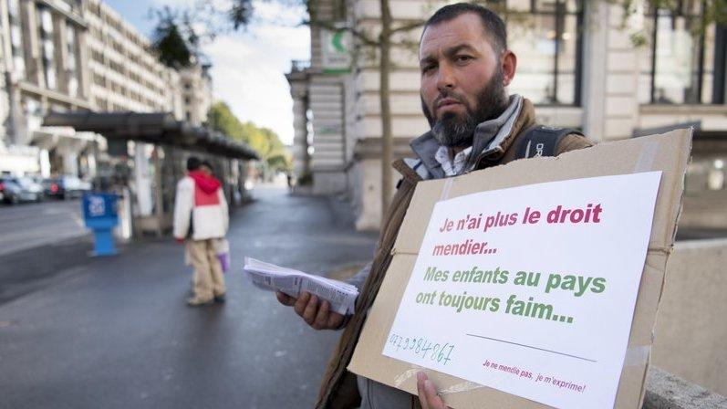 Le 1er novembre 2018 à Lausanne, manifestation contre l'interdiction de mendier étendue à tout le canton de Vaud.