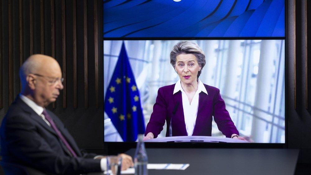 Ursula von der Leyen, présidente de la Commission européenne, était mardi en vidéoconférence au World Economic Forum.