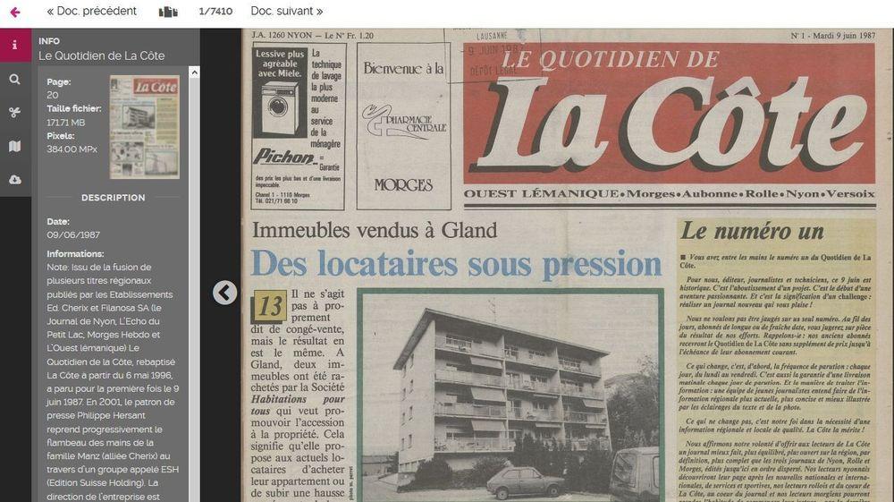 """Les collections historiques de """"La Côte"""" et de ses ancêtres de la région rolloise et nyonnaise sont accessibles en ligne, avec moteur de recherche."""