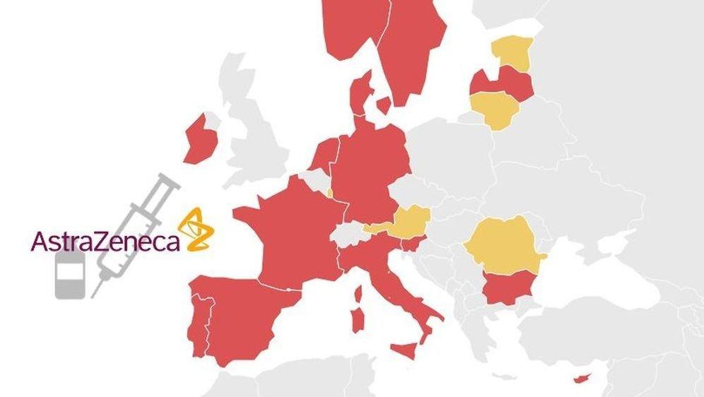 Notre carte des pays européens qui ont suspendu le vaccin AstraZeneca.