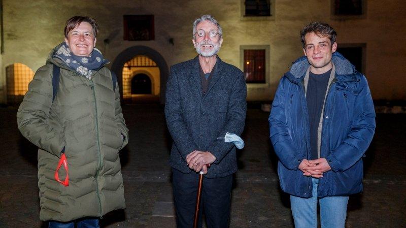 Trois des cinq candidats élus de la plateforme de gauche: Stéphanie Schmutz (PS), Pierre Wahlen (Les Verts) et Alexandre Démétriadès (PS).