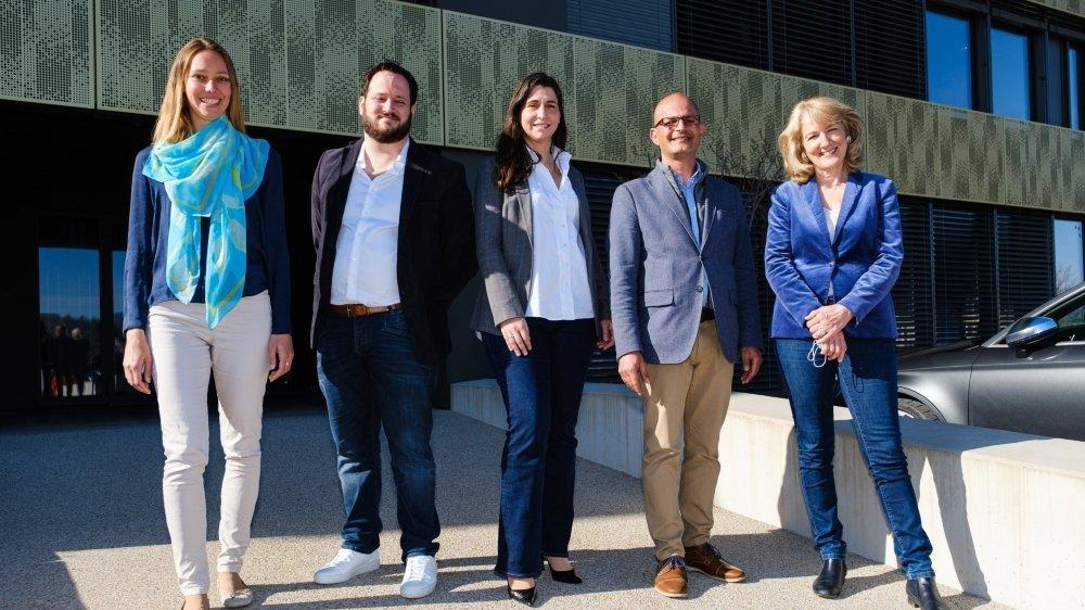 De g. à dr.: Cécile Rod, Loïc Haldimann, Margaret Ruchti, Giorgio Micello et Monique Choulat Pugnale.