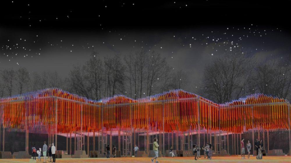 """L'installations """"Temporalis"""", qui sera au coeur du festival, se présentera sous la forme d'une grande structure ondulant entre les arbres."""