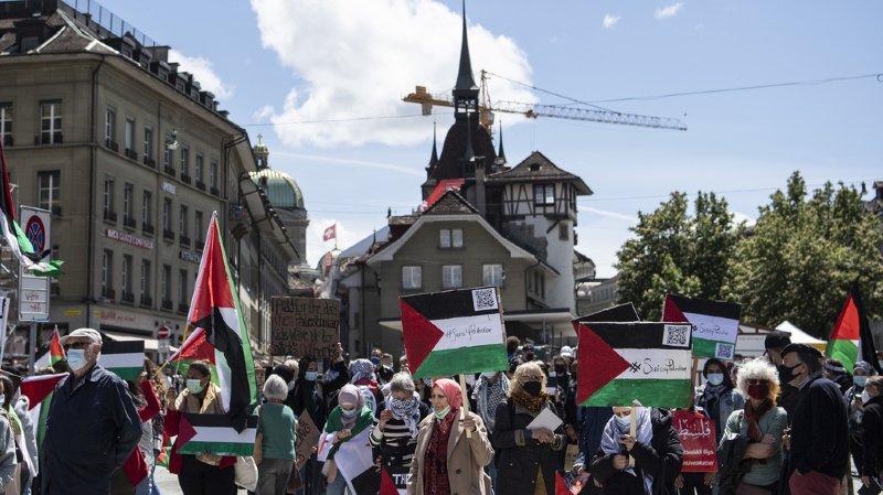Conflit au Proche-Orient: manifestation de solidarité avec les Palestiniens à Berne