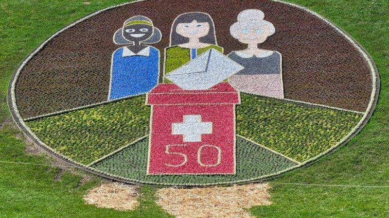 Nyon: une mosaïque florale pour marquer les 50 ans du droit de vote des femmes