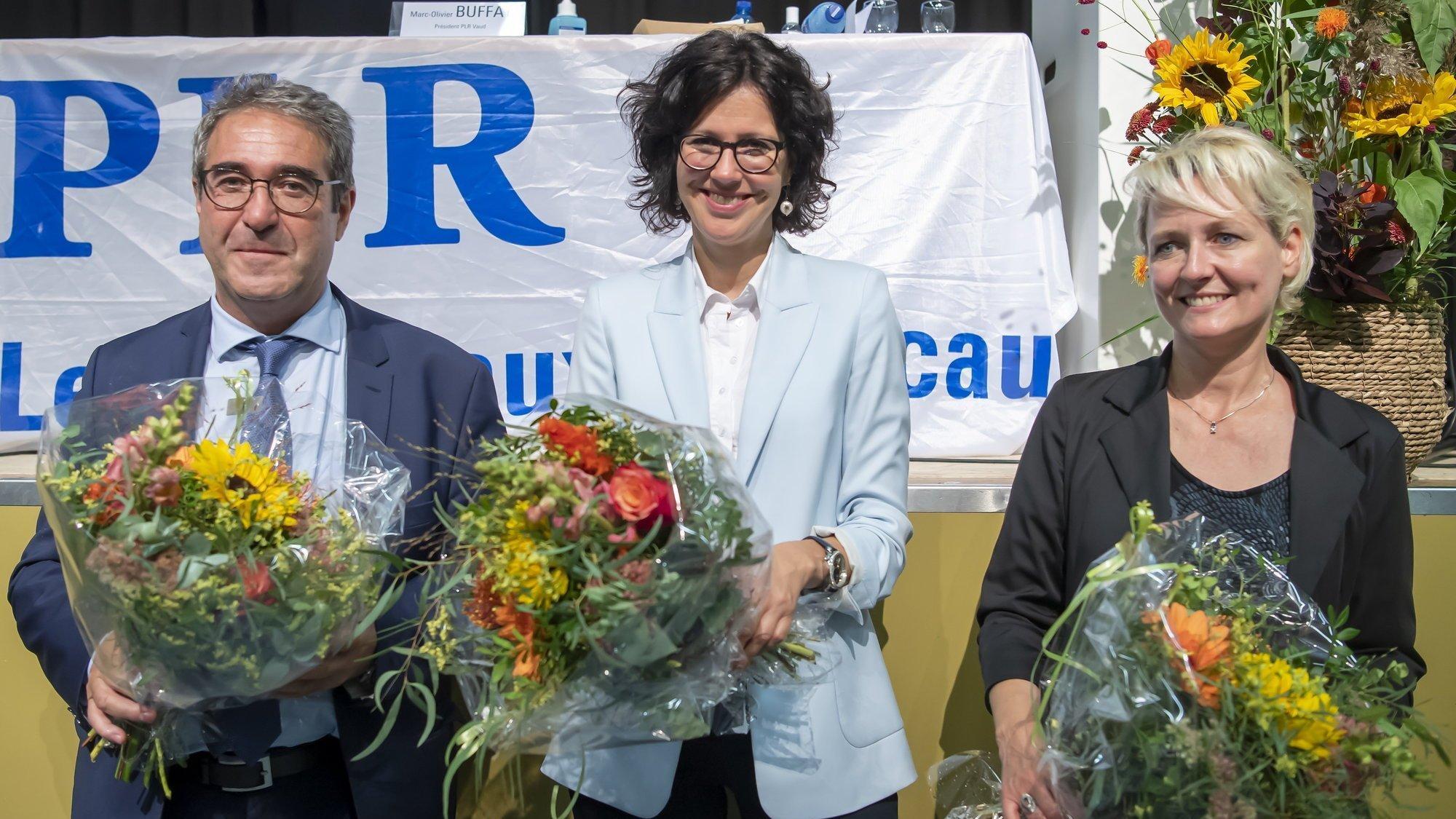 Frédéric Borloz, Christelle Luisier et Isabelle Moret ont été désignés pour défendre les couleurs du PLR, mercredi soir lors d'un congrès qui s'est tenu à Tolochenaz.