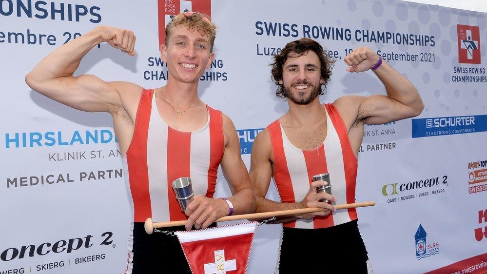 Désormais doubles champions suisses en deux de couple poids légers, Raphaël Ahumada et Ulysse Rolland peuvent montrer les muscles.