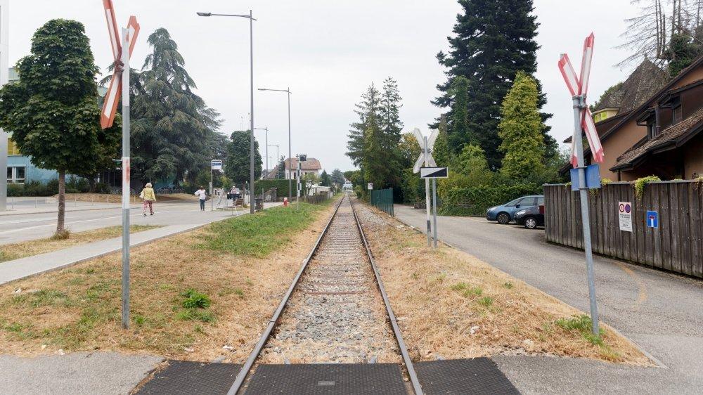 La voie longe les habitations et compte neuf croisements dépourvus de barrières.