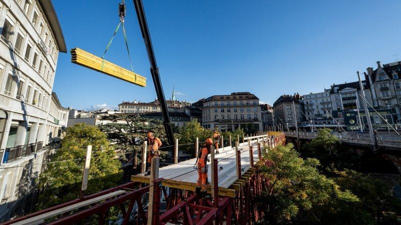 Fermeture du Grand-Pont: une nouvelle passerelle érigée au centre de Lausanne