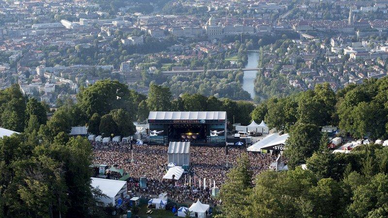 Une vue aérienne de la scène principale du Gurten, à Berne.