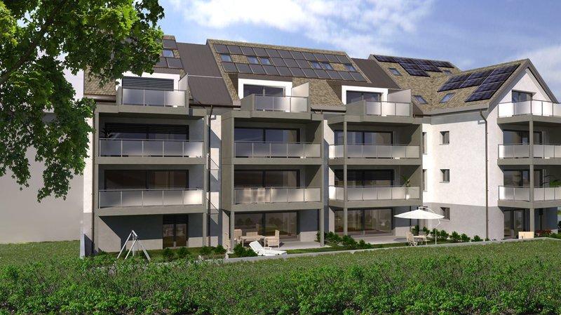 L'immeuble de 17 appartements formera un angle entre le chemin de la Louve et la rue du Nord.