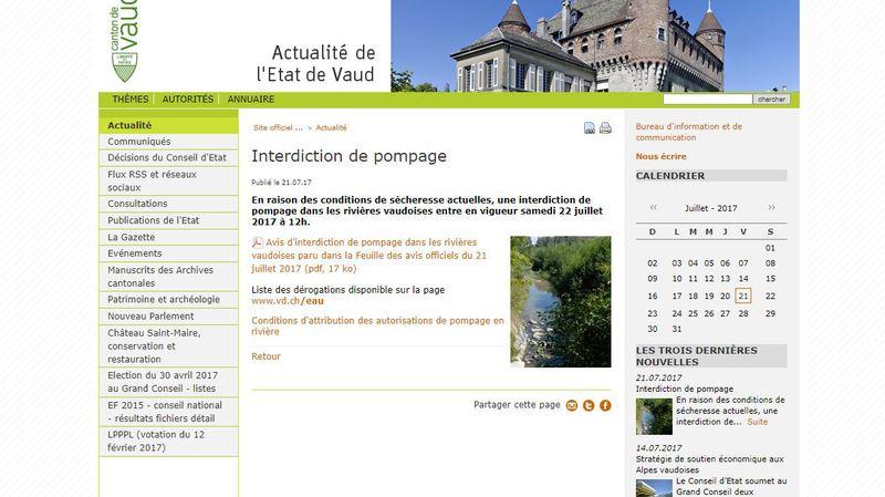Le canton de Vaud a publié officiellement un avis d'interdiction de pompage ce vendredi.