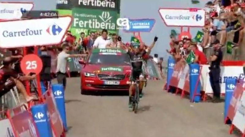 Tout devant, Rafal Majka a fêté sa première victoire sur la Vuelta.