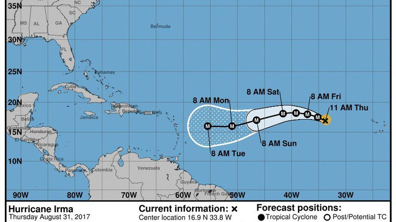 La trajectoire d'Irma est encore incertaine, mais plusieurs projections placent sur son passage Haïti, la République dominicaine et Cuba avant de se diriger vers le nord en direction de la Floride, puis, éventuellement, la côte Est des Etats-Unis.