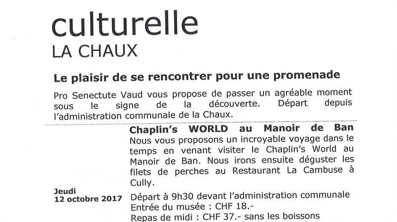 Sortie socioculturelle - La Chaux