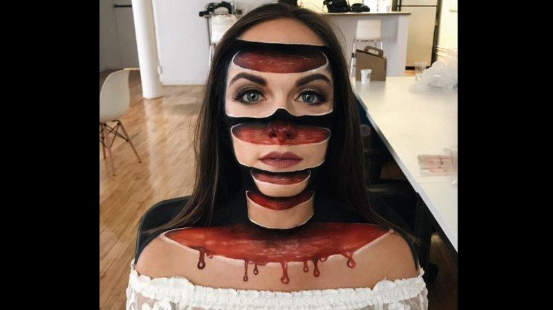 Elle réalise des maquillages illusions d'optique spectaculaires