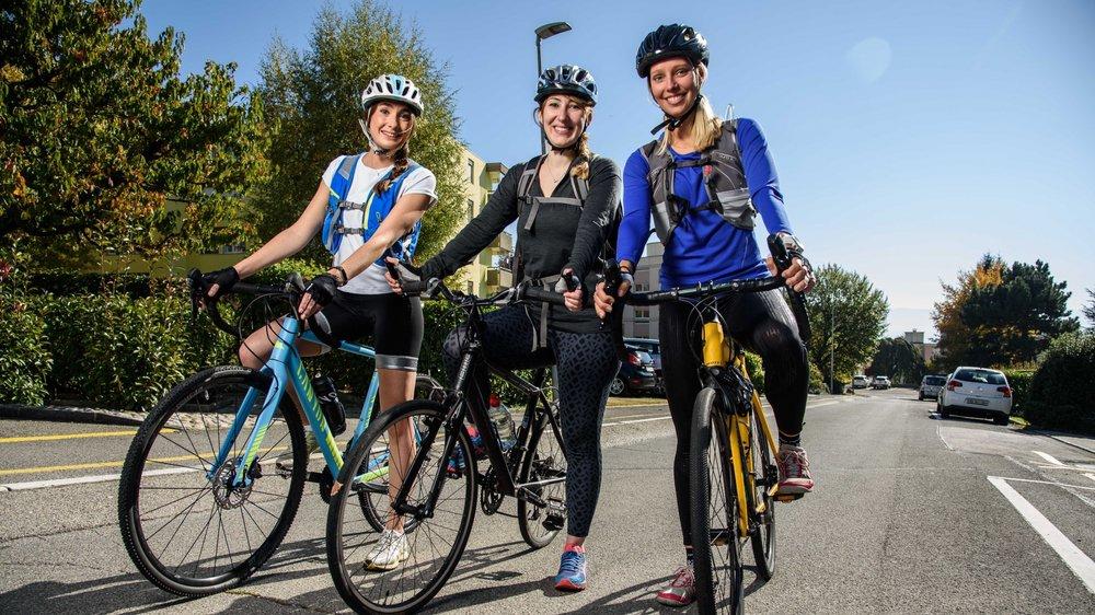 Ce dimanche 15 octobre, Faustine Kesilber, Caroline Mœsching et Cécile Rod (de g. à dr.).  sont parties de Rolle à vélo et ont rejoint Morges.