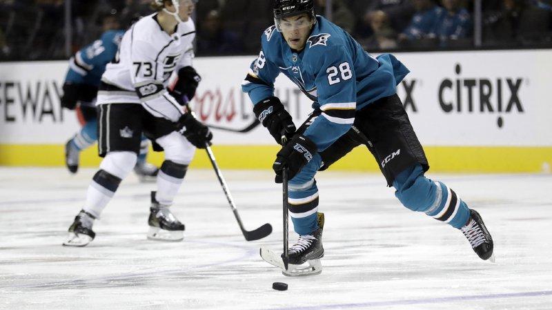 Hockey: San Jose victorieux grâce à un but de Timo Meier