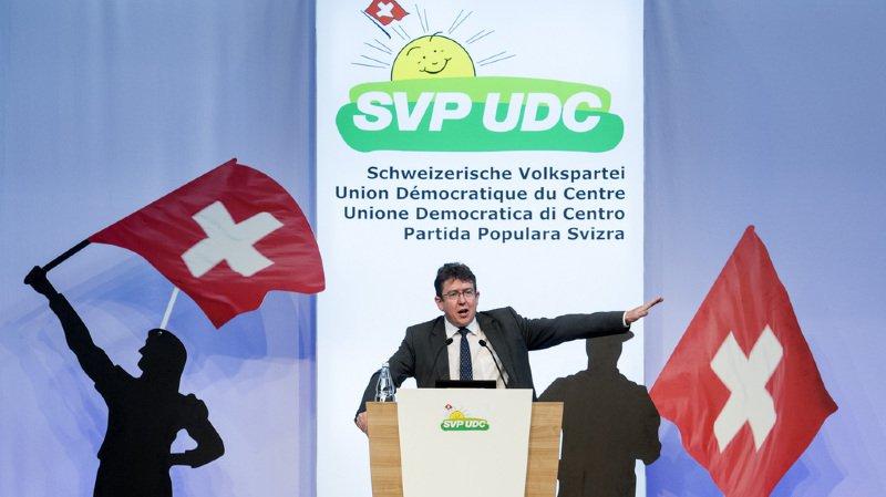 Les délégués UDC, ici le président Albert Rösti, étaient réunis en assemblée.