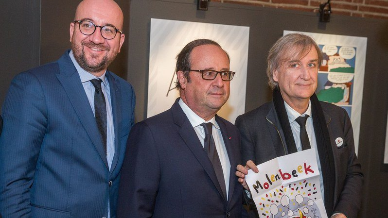"""Le Premier ministre belge Charles Michel, Francois Hollande et le caricaturiste Plantu ont inauguré lundi l'exposition """"Traits d'union"""", qui restera ouverte jusqu'au 30 novembre."""