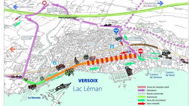 Entre la route de Sauverny et celle de Montfleury, le trafic sur la route de Suisse ne circulera que dans le sens Genève-Vaud dès le 15 janvier.
