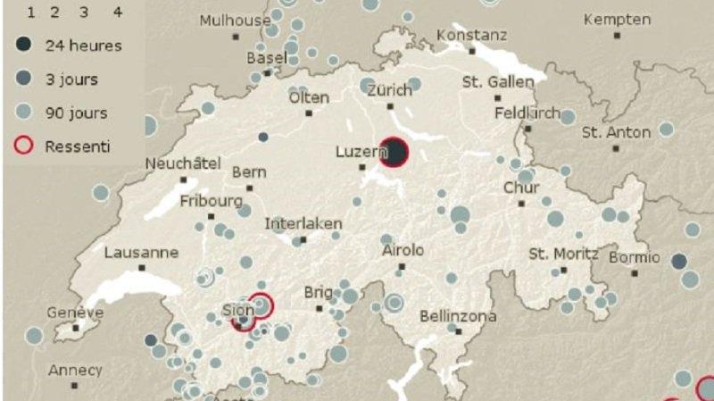 Zoug: magnitude du séisme revu à la baisse, à 3,3