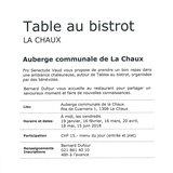 Table au bistrot - La Chaux