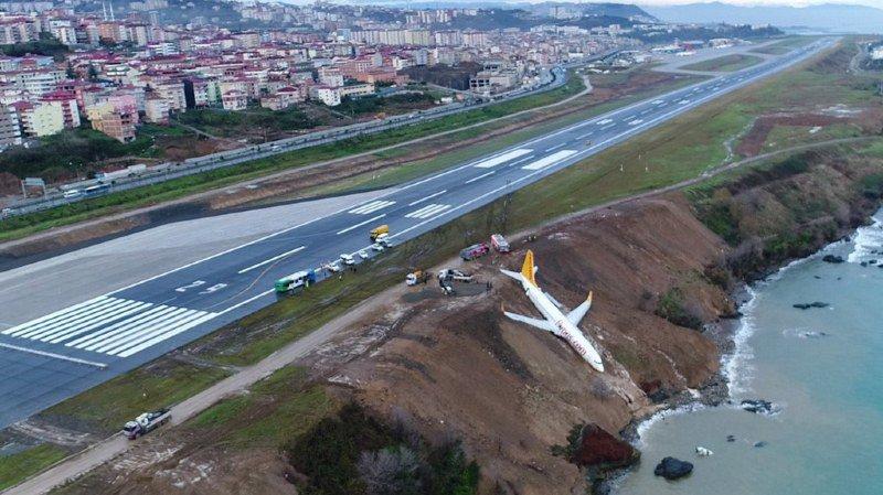 Les impressionnantes images de la sortie de piste d'un avion en Turquie