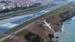 Turquie: un avion sort de la piste et s'arrête à quelques mètres de la mer