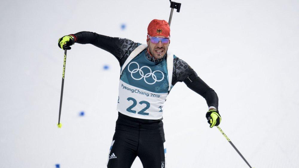 L'Allemand Arnd Peiffer a remporté le sprint, hier.