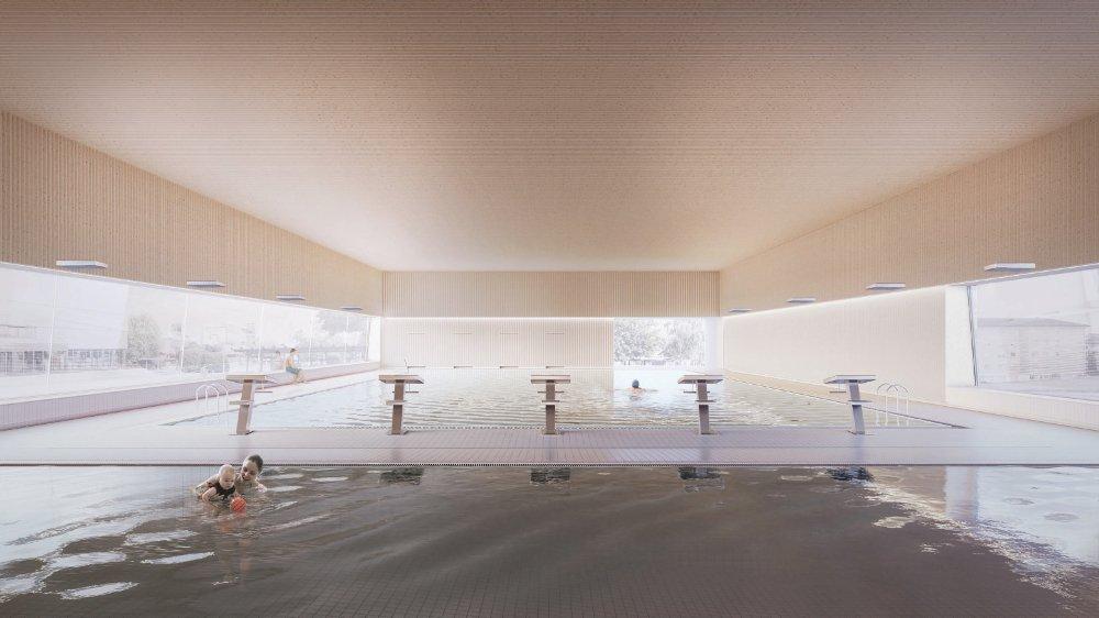 L'image de synthèse fournie par le bureau d'architecture montre les deux bassins, le petit pour l'apprentissage et le grand pour la nage.