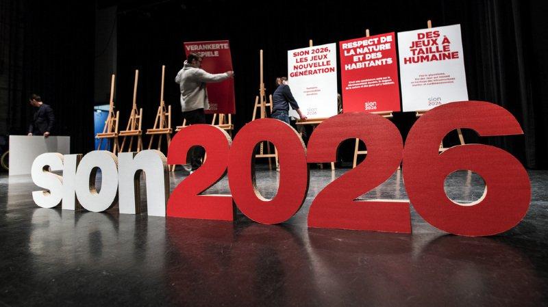 Preparation ce mardi 6 fevrier 2018 de la CP du debut officiel de la campagne Sion 2026 OUI, a l'Aula du Lycee-college des Creusets a Sion. (KEYSTONE/Olivier Maire)