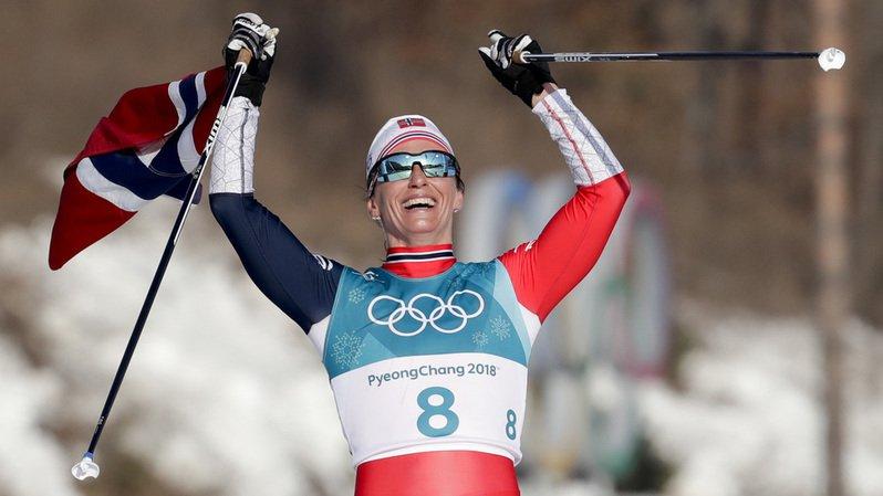La Norvégienne est devenue l'athlète la plus titrée aux JO d'hiver en remportant une 8e médaille d'or à ces Jeux pour un total de 15 médailles