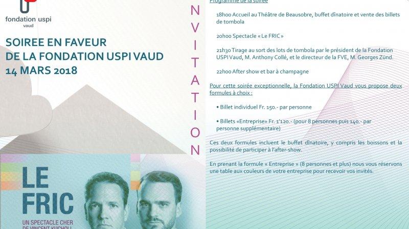 Le fric - Soirée de soutien - Fondation USPI Vaud