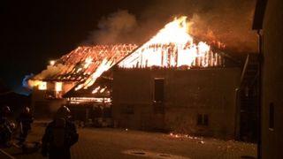 Une maison détruite par les flammes à Montmagny (VD)