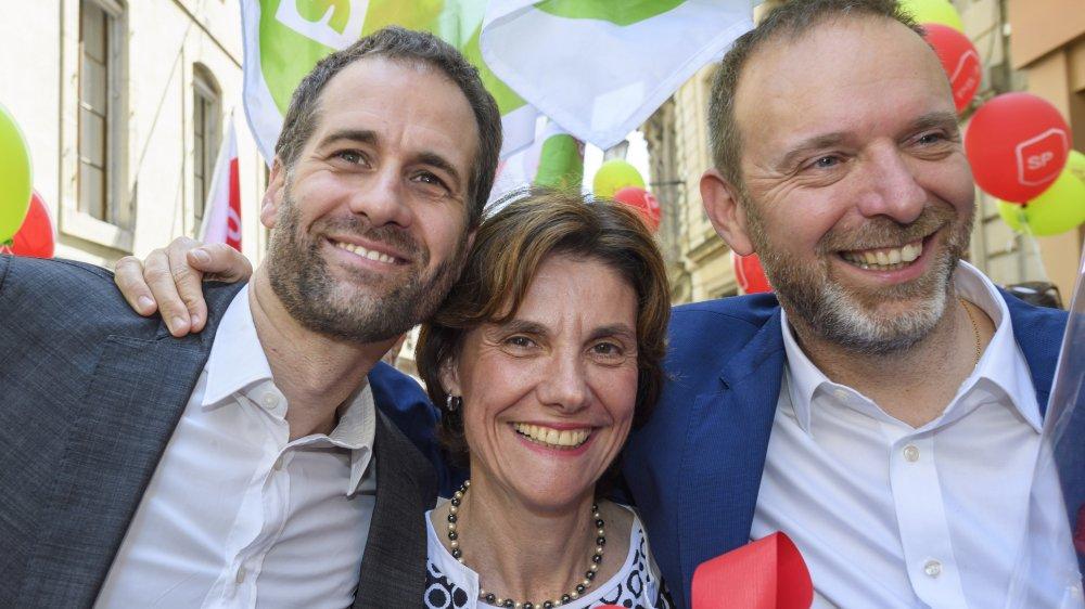 En haut: Nathalie Fontanet, nouvelle élue PLR, rejoint Pierre Maudet, déjà admis au premier tour. Au centre, le PDC Serge Dal Busco, et, en bas, l'UDC Mauro Poggia (tous sortants). Enfin, le Vert Antonio Hodgers, et les socialistes Anne Emery-Torracinta et le nouvel élu Thierry Apothéloz, trio qui rééquilibre l'exécutif cantonal genevois. Ci-dessous, le perdant de cette élection, le PDC Luc Barthassat, dont le bilan n'a pas convaincu lesvotants.
