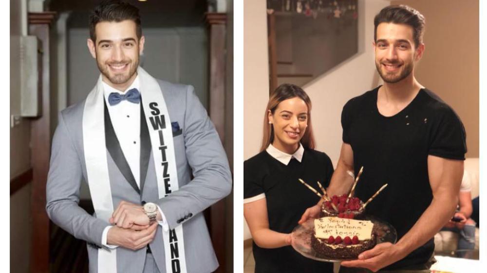 Pour le concours de Mister International, Alessio Costantini a pu compter sur le soutien de sa soeur Ileana, championne de coiffure.