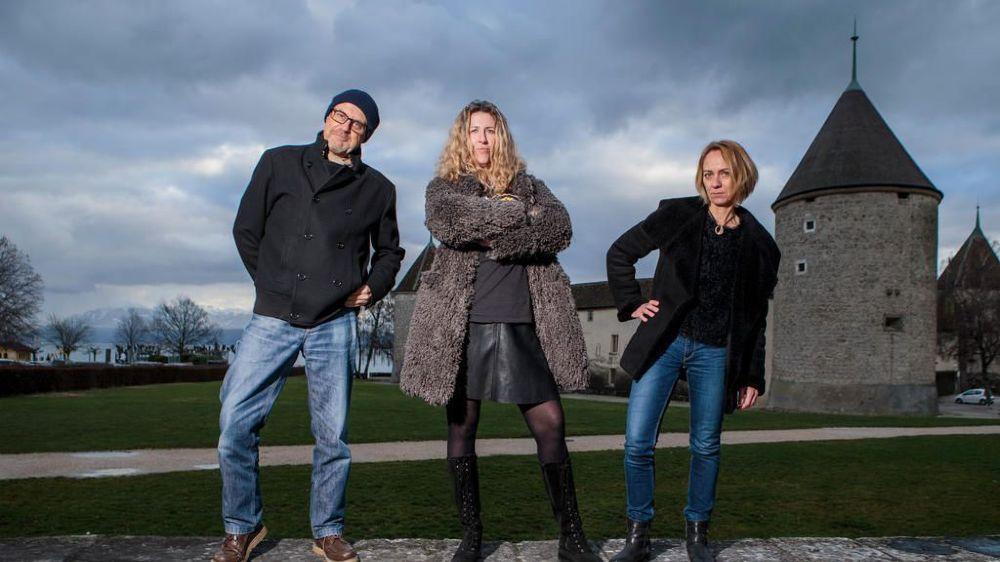 Jean-Luc Battaglia, Shirley Etaix et Nicole Schoch, de l'Association Perle open air qui organise le festival du même nom, en juin, face au château et au lac. Le château sera un véritable écrin visuel.